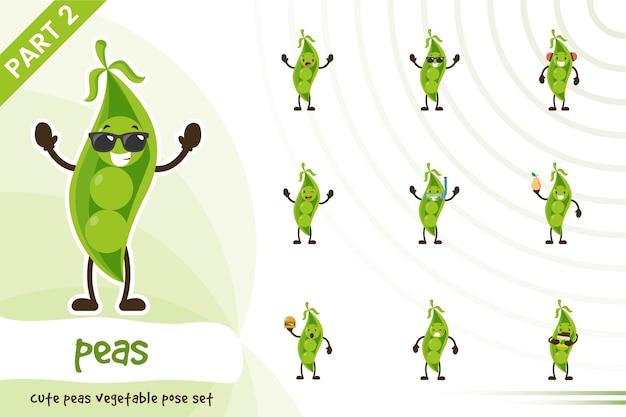 Dessin animé, illustration, de, mignon, pois légumes, ensemble