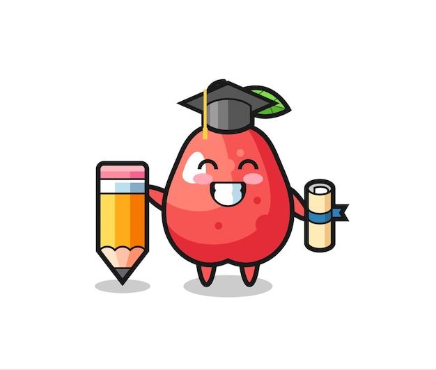 Le dessin animé d'illustration de pomme d'eau est l'obtention du diplôme avec un crayon géant, un design de style mignon pour un t-shirt, un autocollant, un élément de logo