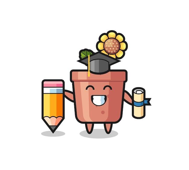 Le dessin animé d'illustration de pot de tournesol est l'obtention du diplôme avec un crayon géant, un design de style mignon pour un t-shirt, un autocollant, un élément de logo