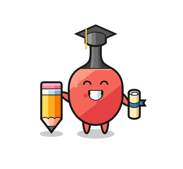 Le dessin animé d'illustration de raquette de tennis de table est l'obtention du diplôme avec un crayon géant, un design de style mignon pour un t-shirt, un autocollant, un élément de logo