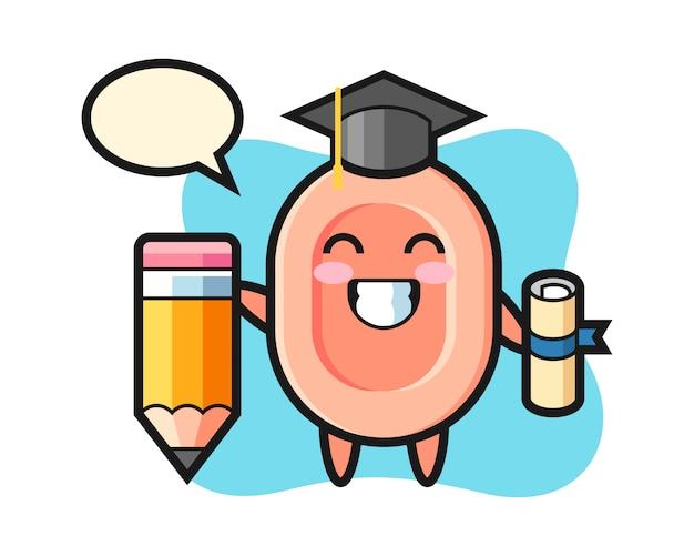 Le dessin animé d'illustration de savon est l'obtention du diplôme avec un crayon géant, style mignon pour t-shirt, autocollant, élément de logo
