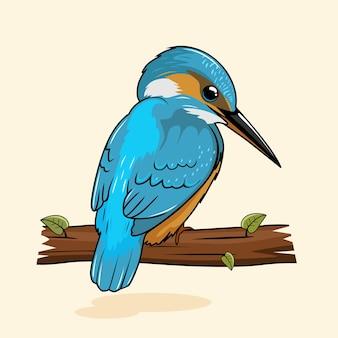 Dessin animé d'illustrations d'oiseaux de martin-pêcheur