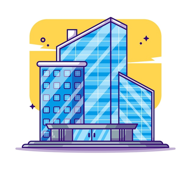 Dessin animé immeuble de bureaux