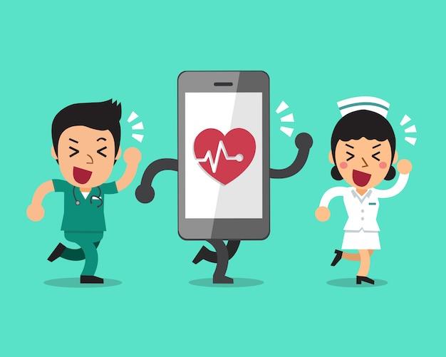 Dessin animé infirmière et infirmière avec grand smartphone