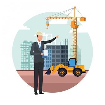 Dessin animé ingénieur en construction