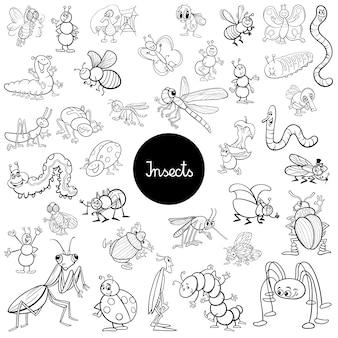 Dessin animé insectes animaux ensemble livre de coloriage