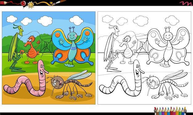 Dessin animé insectes personnages groupe page de livre de coloriage