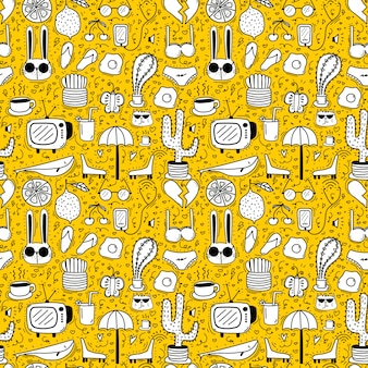 Dessin animé jaune modèle sans couture