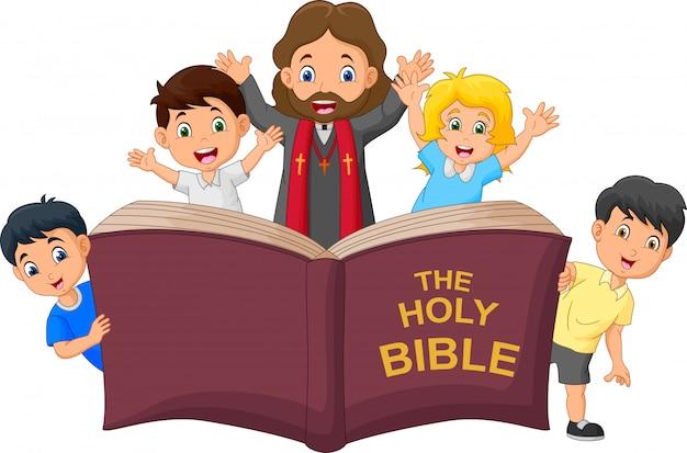 Dessin animé jésus-christ avec des enfants