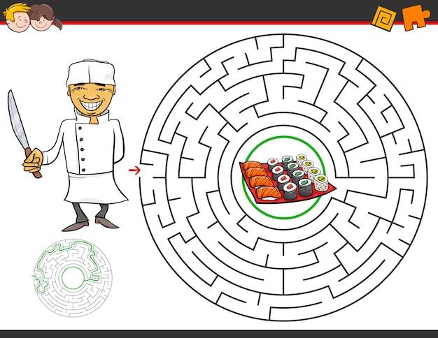 Dessin animé jeu de labyrinthe avec chef et sushi