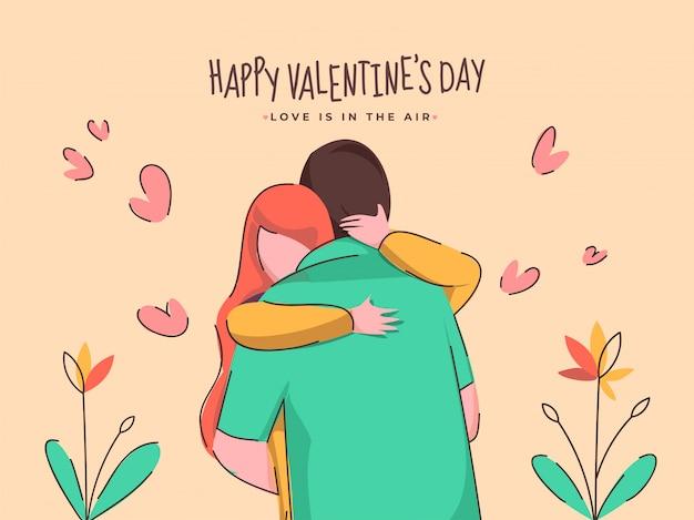 Dessin animé jeune couple étreignant avec coeurs et plantes sur fond brun pêche pour la saint-valentin heureuse, l'amour est dans le concept de l'air.