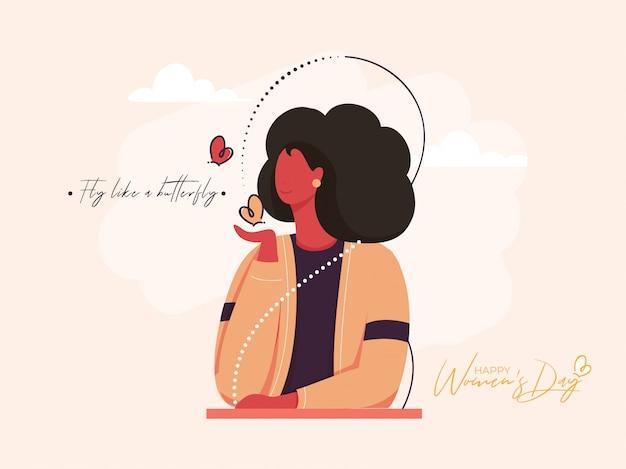 Dessin animé jeune fille tenant des papillons et un message donné comme voler comme un papillon pour le concept de la journée de la femme heureuse.