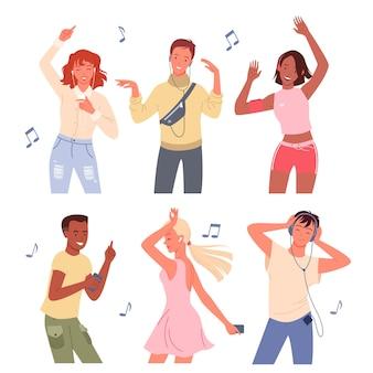 Dessin animé jeune homme et femme heureux groupe de personnages de danseurs écouter de la musique