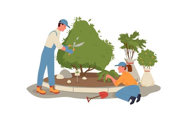Dessin animé jeune homme femme jardinier personnages travaillant et jardinage tenant le jardin