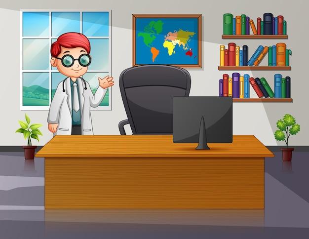 Dessin animé un jeune médecin dans sa salle de bureau