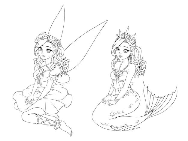 Dessin animé jolie fée et sirène aux cheveux bouclés. pose assise. livre de coloriage dessiner à la main