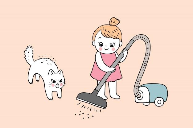 Dessin animé jolie fille et vecteur de nettoyage de chat.