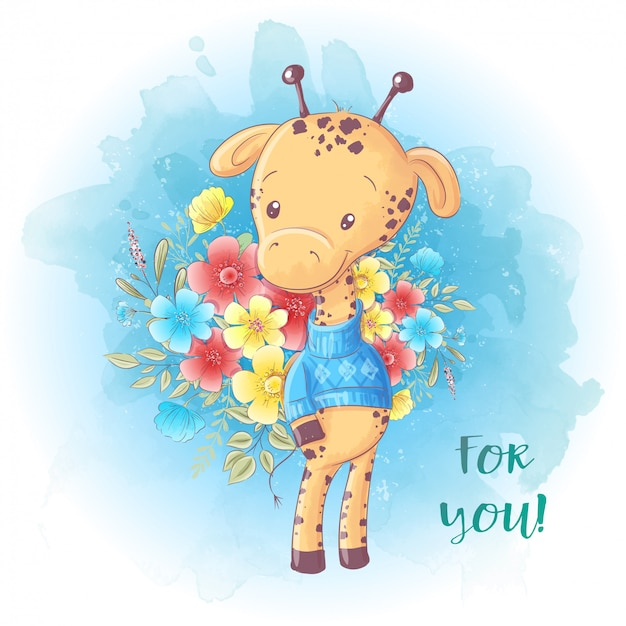 Dessin animé jolie girafe avec un bouquet de fleurs. carte d'anniversaire.