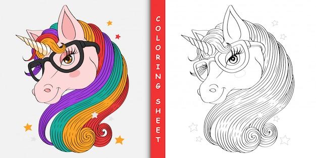 Dessin animé jolie licorne, feuille à colorier