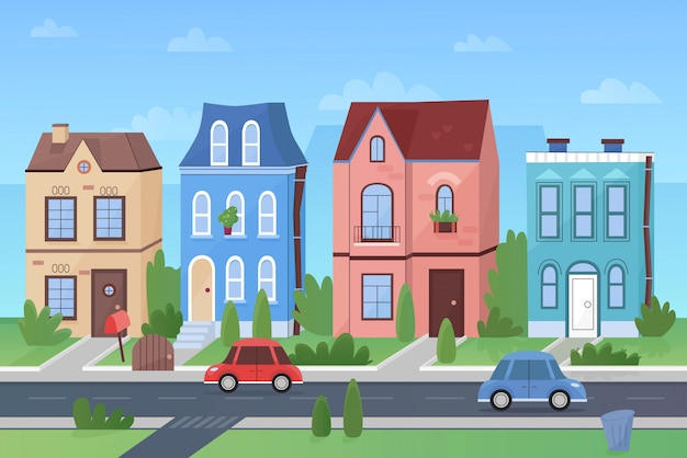 Dessin animé jolie rue d'une ville colorée avec des magasins, des voitures et des arbres.