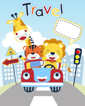 Dessin animé de jolis animaux sur un véhicule amusant