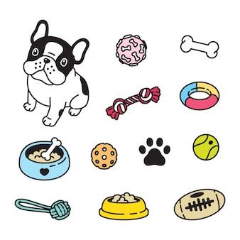 Dessin animé jouet chien bulldog français
