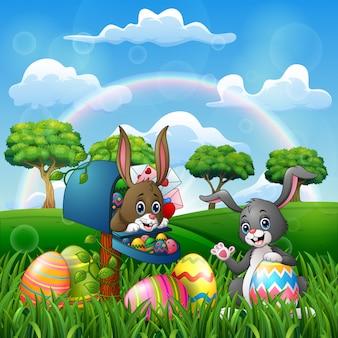 Dessin animé joyeuses pâques avec des lapins sur la nature