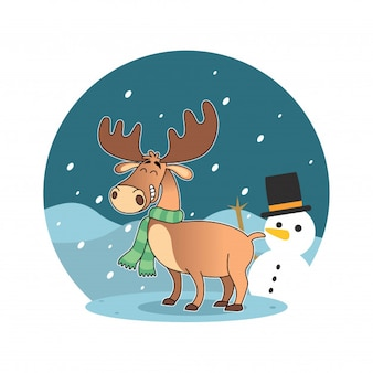 Dessin animé joyeux cerf avec une écharpe avec un bonhomme de neige