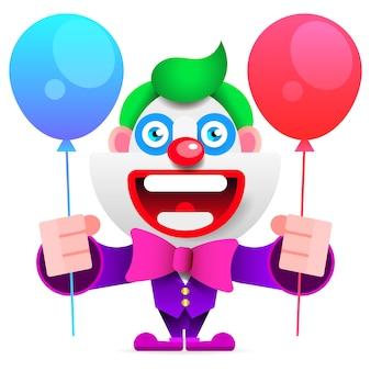 Dessin animé joyeux clown entre enfants illustration vectorielle
