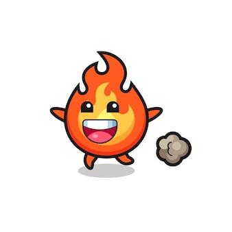 Le dessin animé joyeux feu avec pose en cours d'exécution, design de style mignon pour t-shirt, autocollant, élément de logo