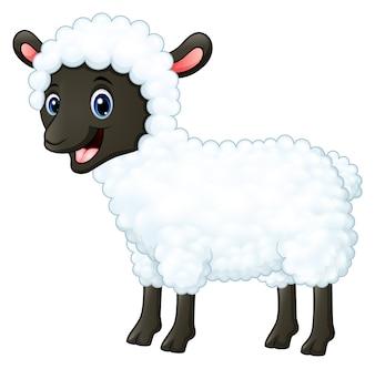 Dessin animé joyeux mouton souriant