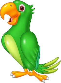 Dessin animé joyeux perroquet posant