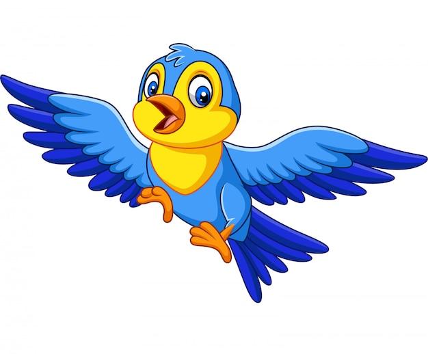 Dessin animé joyeux petit oiseau en vol