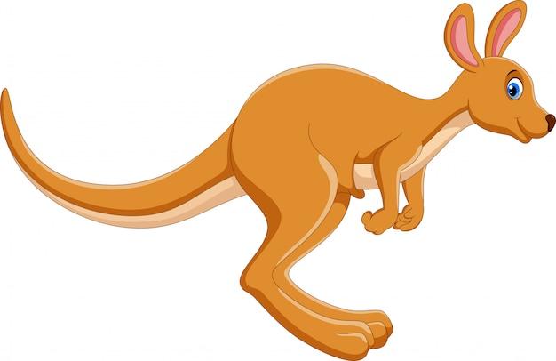 Dessin animé kangourou sautant