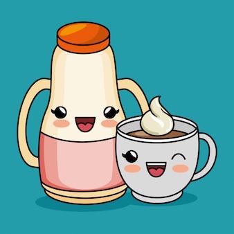 Dessin animé kawaii jus tasse café