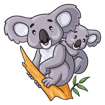 Dessin animé koala et bébé
