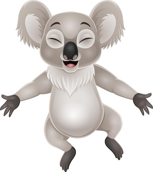 Dessin animé koala heureux sur blanc