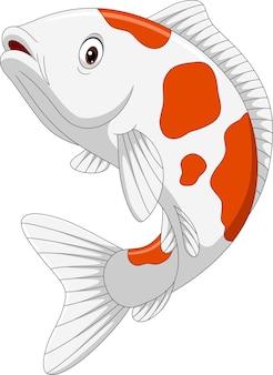 Dessin animé, koi, poisson, blanc
