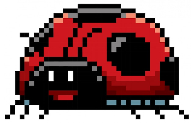 Dessin animé lady bug pixel design