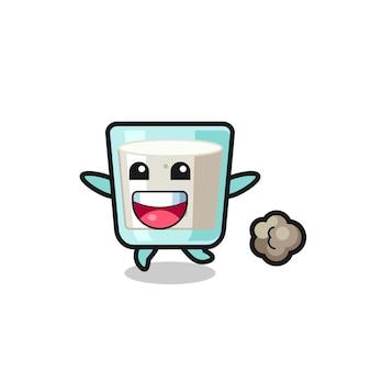 Le dessin animé de lait heureux avec pose en cours d'exécution, design de style mignon pour t-shirt, autocollant, élément de logo