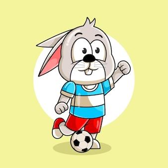 Dessin animé de lapin botter le ballon illustration