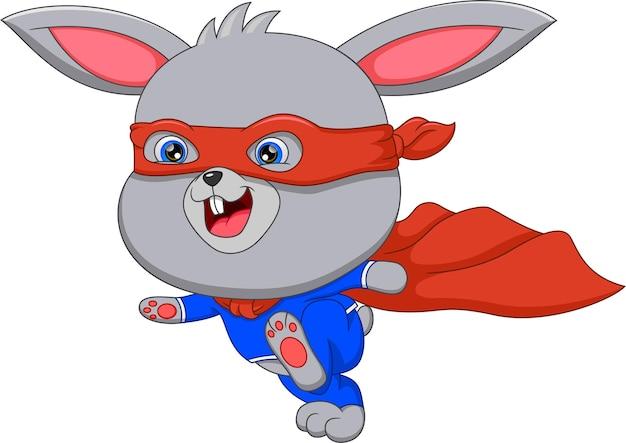 Dessin animé de lapin en costume de super héros