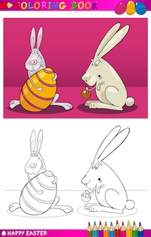 Dessin animé de lapin de pâques pour la coloration