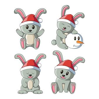 Dessin animé, lapins, ensemble, illustration