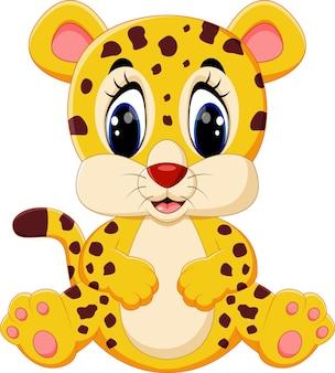 Dessin animé léopard mignon