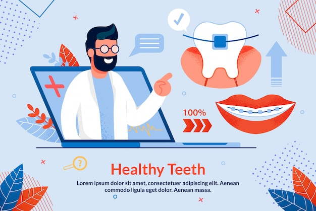 Dessin animé de lettres brillantes dents en santé.