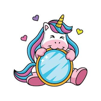 Dessin animé de licorne amoureux de la pose mignonne.