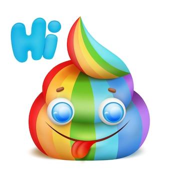 Dessin animé licorne arc-en-ciel poo emoji caractère