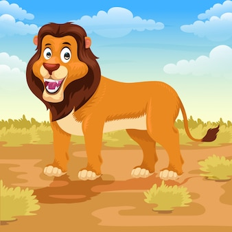 Dessin animé de lion dans la savane