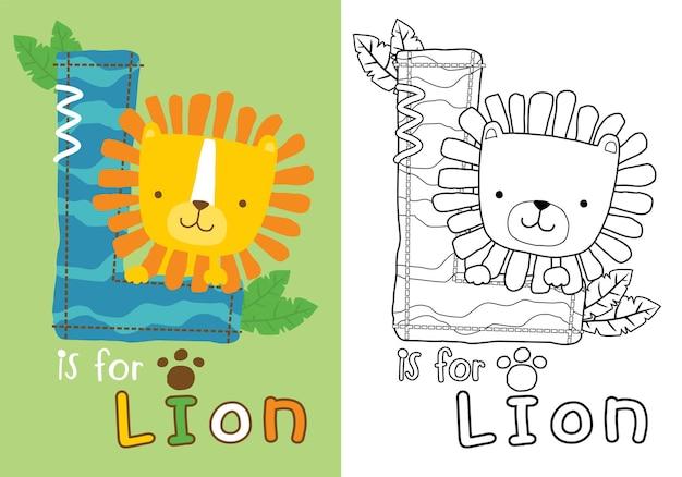 Dessin animé de lion mignon sur la lettre l, livre de coloriage ou page pour les enfants
